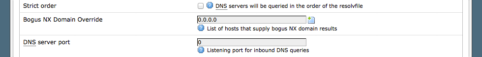 Listening port for inbound DNS queries set to 0